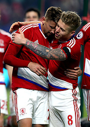 Gaston Ramirez of Middlesbrough celebrates with Adam Clayton of Middlesbrough after scoring a goal to make it 1-0 - Mandatory by-line: Robbie Stephenson/JMP - 05/12/2016 - FOOTBALL - Riverside Stadium - Middlesbrough, England - Middlesbrough v Hull City - Premier League