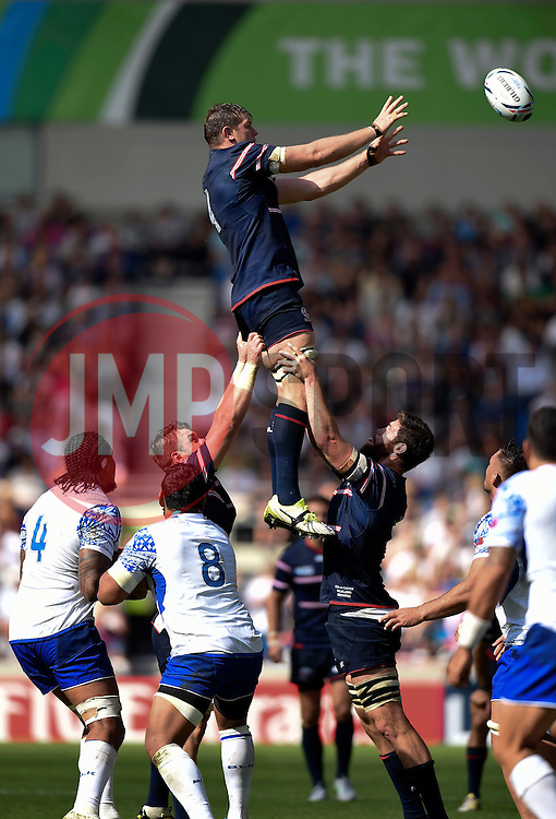 Hayden Smith of the USA wins the ball at a lineout - Mandatory byline: Patrick Khachfe/JMP - 07966 386802 - 20/09/2015 - RUGBY UNION - Brighton Community Stadium - Brighton, England - Samoa v USA - Rugby World Cup 2015 Pool B.