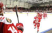 2018-11-21 | Ljungby, Sweden: Celebration after a goal during the game between Troja Ljungby and Hanhals Kings at Ljungby Arena ( Photo by: Fredrik Sten | Swe Press Photo )<br /> <br /> Keywords: Icehockey, Ljungby, HockeyEttan, Troja Ljungby, Hanhals Kings, Ljungby Arena, Icehockey, Ljungby, HockeyEttan, Troja Ljungby, Hanhals Kings, Ljungby Arena
