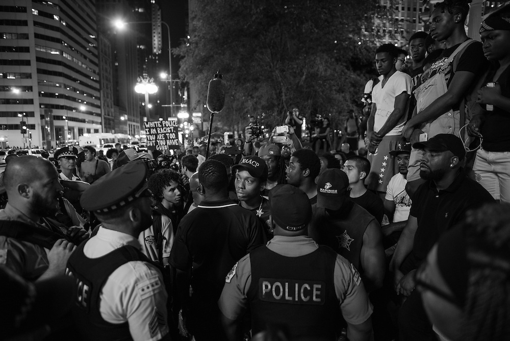 After the Black Lives Matter Chicago-led march concluded at Wrigley Square a small group of protesters continued onto the streets after a stand-off with Chicago police on Michigan Avenue.
