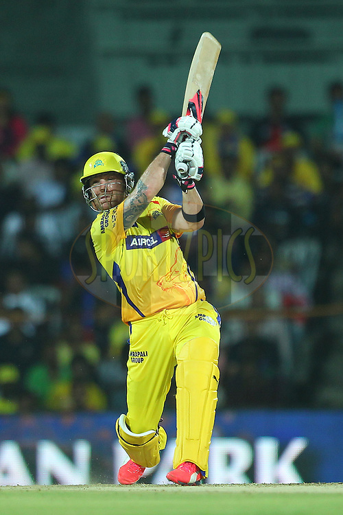 Brendon McCullum of the Chennai Superkings hits over the top for six during match 47 of the Pepsi IPL 2015 (Indian Premier League) between The Chennai Superkings and The Rajasthan Royals held at the M. A. Chidambaram Stadium, Chennai Stadium in Chennai, India on the 10th May 2015.<br /> <br /> Photo by:  Ron Gaunt / SPORTZPICS / IPL