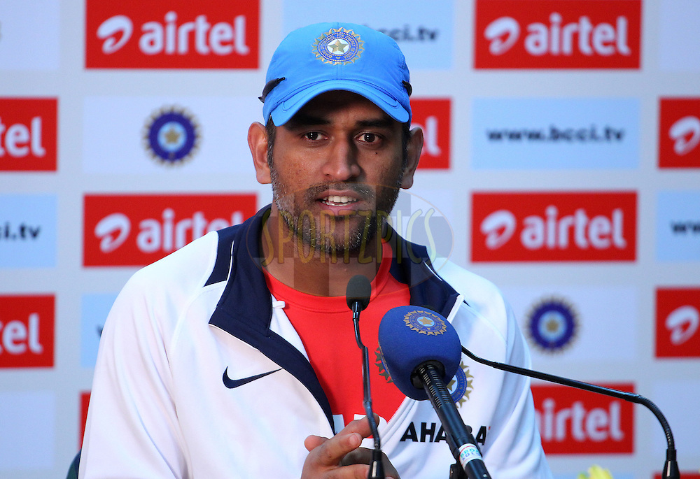 MS Dhoni of India addresses the media in the post match press conference during the 4th Airtel ODI Match between India and England held at the PCA Stadium, Mohal, India on the 23rd January 2013..Photo by Ron Gaunt/BCCI/SPORTZPICS ..Use of this image is subject to the terms and conditions as outlined by the BCCI. These terms can be found by following this link:..http://www.sportzpics.co.za/image/I0000SoRagM2cIEc