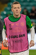 Callum McGregor (#42) prepares ahead of the Europa League match between Celtic and Rennes at Celtic Park, Glasgow, Scotland on 28 November 2019.