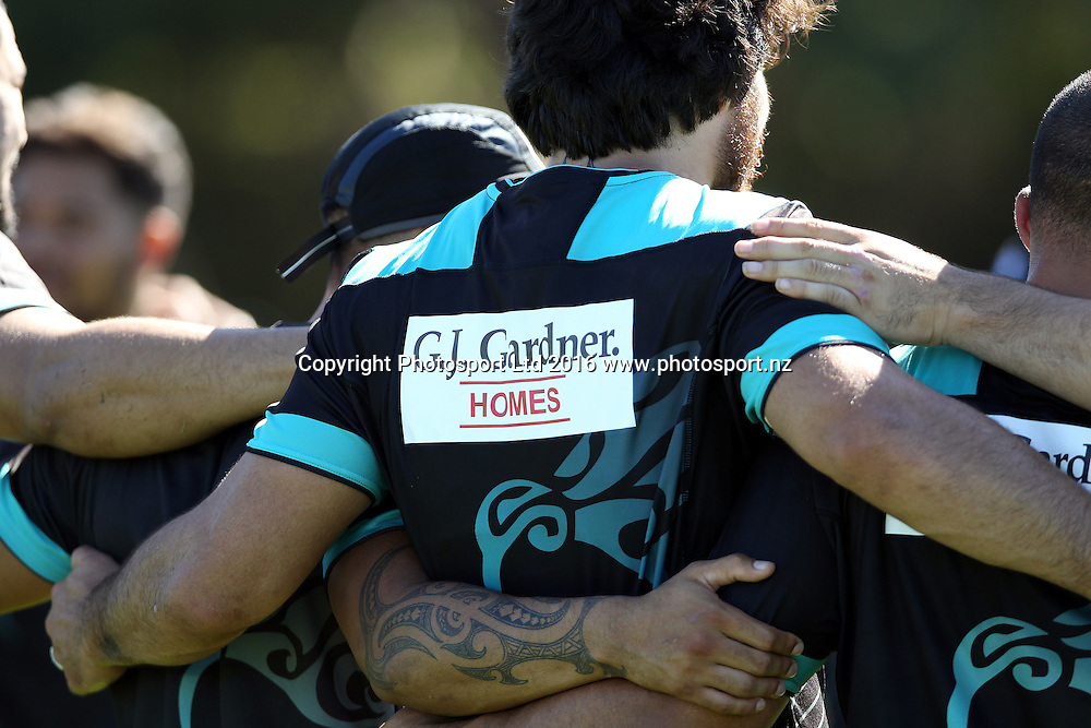 GJ Gardner Sponsor<br /> NZRL Training for the test match at Old Saleyards Reserve, North Parramatta Australia. Tuesday 3 May 2016. Photo: Paul Seiser/Photosport.nz