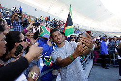 Monday 17th October 2016.<br /> Grand Parade & Greenpoint Athletics Stadium, Cape Town,<br /> Western Cape, South Africa.<br /> <br /> Cape Town Honours South African Olympic And Paralympic Heroes<br /> <br /> Olympic Champion and 400 Metre World Record Holder Wayde Van Niekerk takes a selfie with an excited fan while signing autographs at Greenpoint Athletics Stadium.<br /> <br /> Cape Town honours the South African Olympic and Paralympic heroes during a special celebratory event held in Cape Town, Western Cape, South Africa on Monday 17 October 2016.<br /> <br /> Picture By: Mark Wessels / Real Time Images.