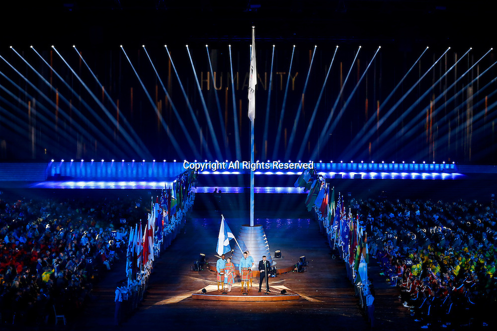23.07.2014. Glasgow, Scotland. Glasgow 2014 Commonwealth Games. The Commonwealth flag is raised during the Opening Ceremony.
