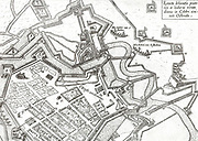 Illustration from 1601 depicting the fortifications and canals protecting the port city of Ostende.