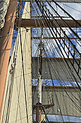 Detail of rigging of the tall ship sailboat Star of India, the oldest preserved US sailing ship