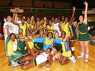 CAPE TOWN, SOUTH AFRICA - 25 October 2008, The Barbados and South African squads celebrate after the final whistle during the 3rd Spar test match between South Africa and Barbados held at The Good Hope Centre in Cape Town, South Africa..Photo by: sportzpics.net