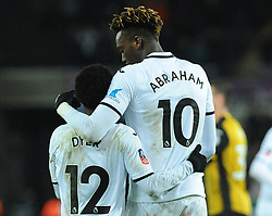 Nathan Dyer of Swansea City celebrates his goal with Tammy Abraham of Swansea City- Mandatory by-line: Nizaam Jones/JMP - 27/02/2018 - FOOTBALL - Liberty Stadium - Swansea, Wales-Swansea City v Sheffield Wednesday - Emirates FA Cup fifth round proper