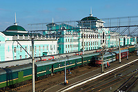 Russie, Siberie, Omsk, gare ferroviaire sur le trajet du transsiberien // Russia, Siberia, Omsk, Railway station,on the Trans-Siberian trail
