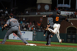 SAN FRANCISCO, CA - AUGUST 05: Jarrett Parker #6 of the San Francisco Giants reacts after hitting a walk off single against the Arizona Diamondbacks during the tenth inning at AT&T Park on August 5, 2017 in San Francisco, California. The San Francisco Giants defeated the Arizona Diamondbacks 5-4 in 10 innings. (Photo by Jason O. Watson/Getty Images) *** Local Caption *** Jarrett Parker