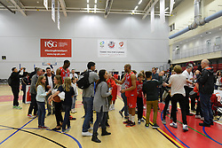 Fans go on the court after the game to see the players - Mandatory byline: Dougie Allward/JMP - 07966 386802 - 23/10/2015 - FOOTBALL - SGS Wise Campus - Bristol, England - Bristol Flyers v Manchester Giants - British Basketball League