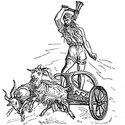 Thor son of Woden or Odin, the second god in the ancient Scandinavian pantheon, riding in chariot drawn by goats and wielding his hammer, symbolising thunder and lightning.  Woodcut.