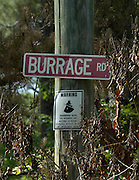 EXCLUSIVE***Burrage, road sign in the middle of the forest in philadelphia,ms. the site where the three civil rights workers were found buried in 1964.The road to the burial site in the earthen dam on Olen Burrages property in Philadelphia,Ms. Friday June 17,2005. There has been no journalists who have ventured to the site in 40 years,until now. James Chaney,Michael Schwerner and Andrew Goodmans bodies were pulled from this site in 1964. Edgar Ray Killen is on trial for there murders.(Photo/Suzi Altman)