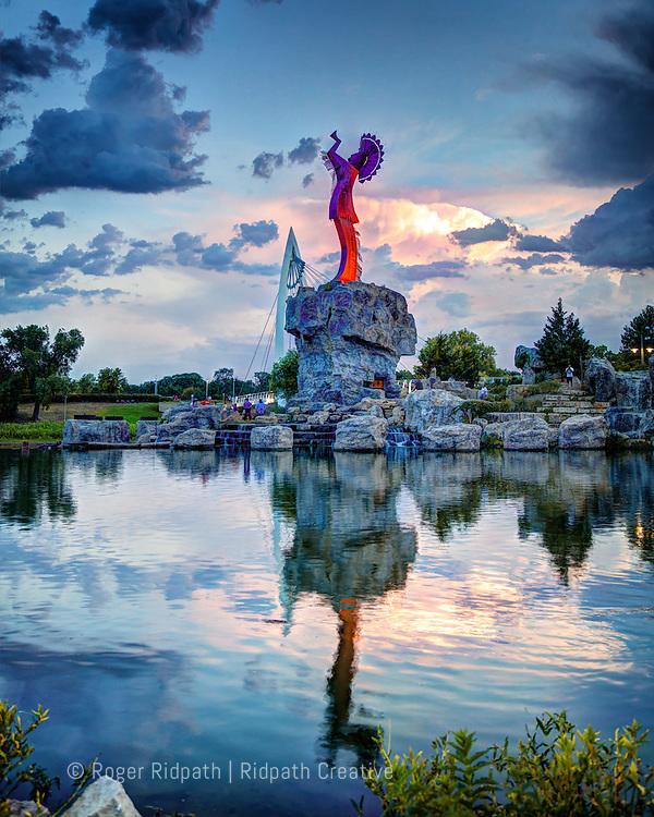 Keeper of the Plains Sunset Summer Wichita Kansas