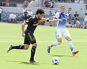 Los Angeles FC defender Omar Gaber (4) attempts a strike and misses during a MLS soccer match in Los Angeles, Saturday, May 5, 2018. (Eddie Ruvalcaba/Image of Sport)