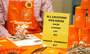A sign seeking workers for Home Depot is seen at a job fair in Golden, Colorado June 7, 2016. REUTERS/Rick Wilking