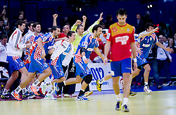 Zeljko Musa of Croatia, Igor Vori of Croatia and other players of Croatia celebrate after the handball match between Croatia and Spain for 3rd place game at 10th EHF European Handball Championship Serbia 2012, on January 29, 2012 in Beogradska Arena, Belgrade, Serbia.  Croatia defeated Spain 31-27 and won 3rd place. (Photo By Vid Ponikvar / Sportida.com)