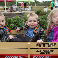 Libby Ezell | BUY at PHOTOS.DJOURNAL.COM<br /> Twins Garrett and Turner Creely, 2 and their cousin Drew Creely piled into a wagon for Saturday's Buddy Walk