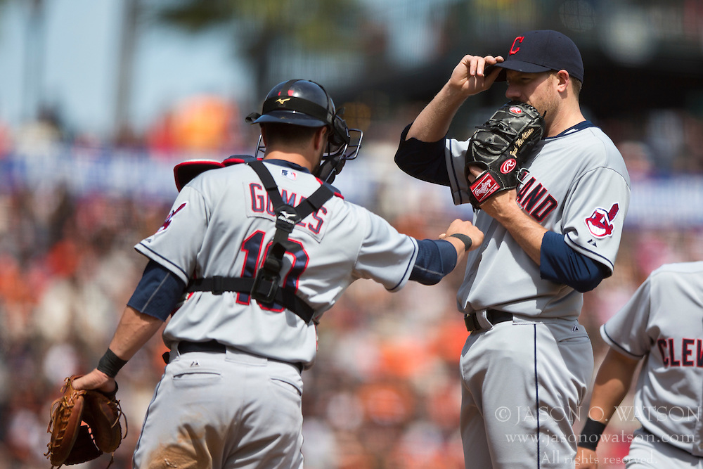 SAN FRANCISCO, CA - APRIL 26:  Yan Gomes #10 of the Cleveland Indians talks to Zach McAllister #34 on the pitchers mound against the San Francisco Giants during the fifth inning at AT&T Park on April 26, 2014 in San Francisco, California. The San Francisco Giants defeated the Cleveland Indians 5-3.  (Photo by Jason O. Watson/Getty Images) *** Local Caption *** Yan Gomes; Zach McAllister