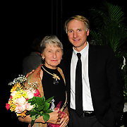 Author Dan Brown backstage with his mother after speaking during a Writers on a New England Stage benefit show at The Music Hall in Portsmouth, NH