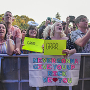 Thousands screaming fans at Rick Astley, 80s icon returned performs at Kew the Music 2019 on 14 July 2019, London, UK.