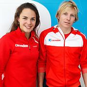 NLD/Amsterdam/20151021 - Ploegpresentatie Corendon schaatsploeg, Marrit Leenstra en Sjoerd de Vries