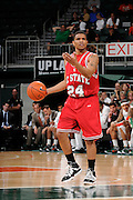 February 27, 2010: Julius Mays of the North Carolina State Wolfpack in action during the NCAA basketball game between the Miami Hurricanes and the North Carolina State Wolfpack. The Wolfpack defeated the 'Canes 71-66.