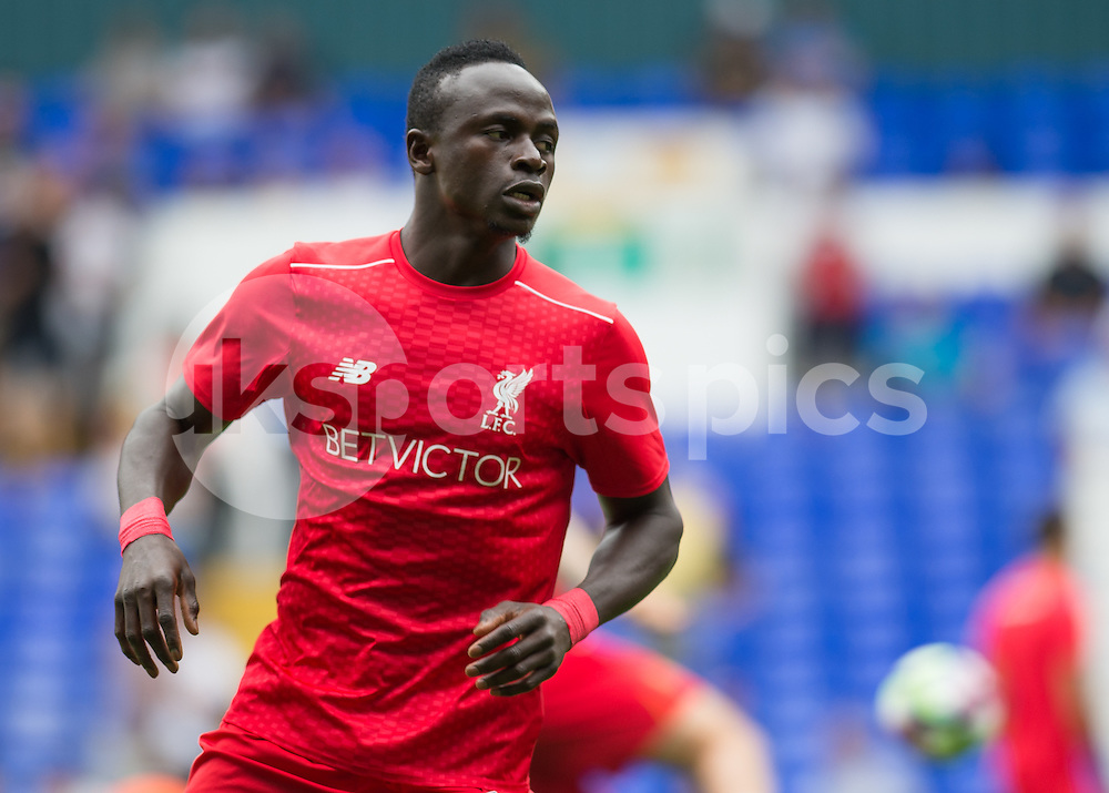 Sadio Mané of Liverpool warms up before the Premier League match between Tottenham Hotspur and Liverpool at White Hart Lane, London, England on 27 August 2016. Photo by Vince  Mignott.