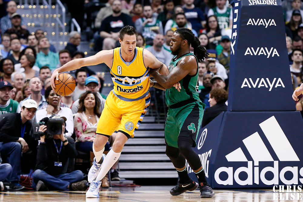 10 March 2017: Denver Nuggets forward Danilo Gallinari (8) posts up `Boston Celtics forward Jae Crowder (99) during the Denver Nuggets 119-99 victory over the Boston Celtics, at the Pepsi Center, Denver, Colorado, USA.