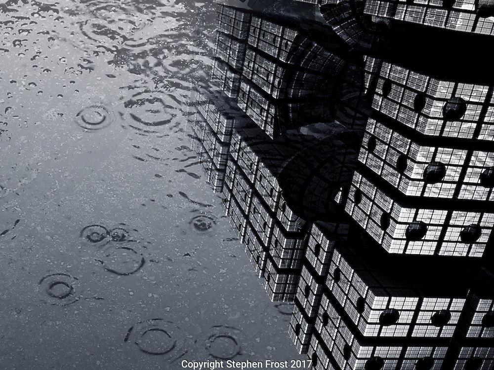 Digital image of a futuristic tower produced by fractals, reflected in surface rain water.