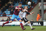 Matty Done is challenged in the penalty area during the EFL Sky Bet League 1 match between Scunthorpe United and Rochdale at Glanford Park, Scunthorpe, England on 24 March 2018. Picture by Daniel Youngs.