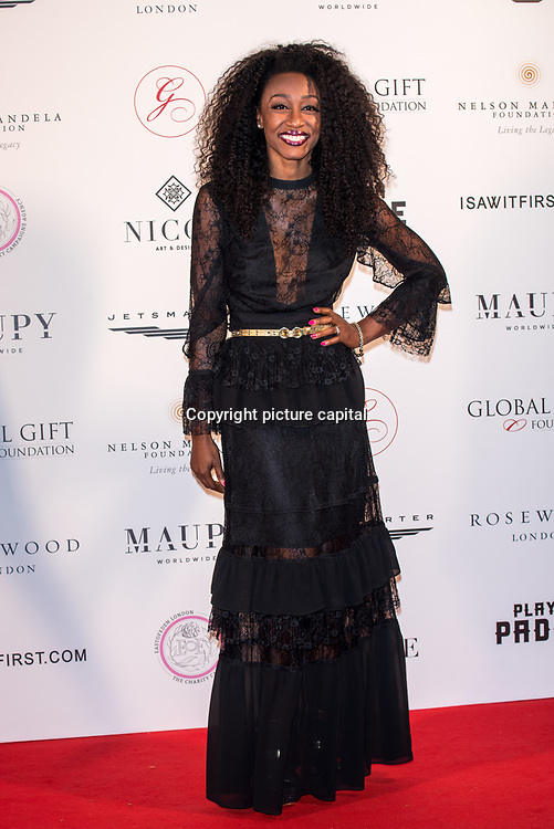 Beverley Knight Arrive The Nelson Mandela Foundation hosts dinner in memory of Nelson Mandela on what would have been the day before his 100 birthday on 24 April 2018 at Rosewood Hotel, London, UK.