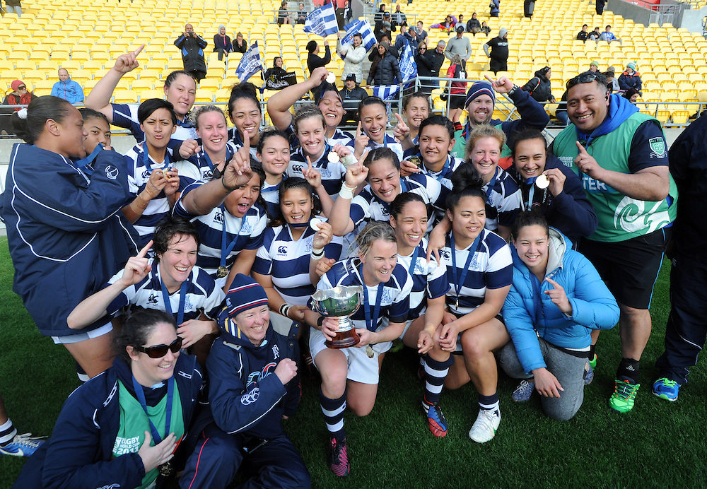 Auckland celebrate their win over Canterbury in the Women's National Provincial Rugby Final at Westpac Stadium, Wellington, New Zealand, Saturday, October 26, 2013. Credit:SNPA / Ross Setford