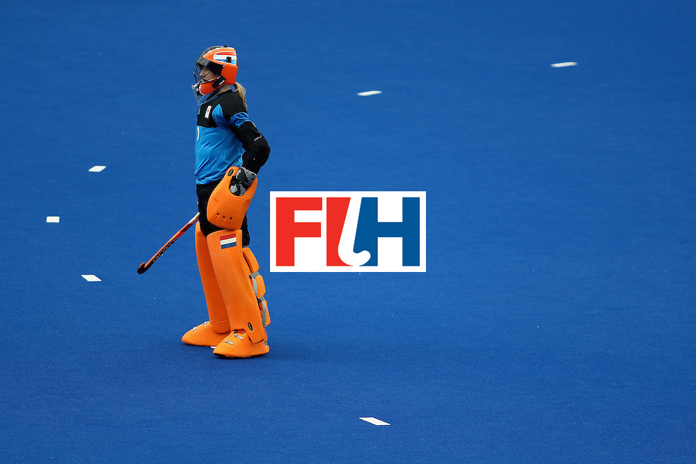 RIO DE JANEIRO, BRAZIL - AUGUST 12: Joyce Sombroek #1 of Netherlands looks on against New Zealand during a Women's Preliminary Pool A match on Day 7 of the Rio 2016 Olympic Games at the Olympic Hockey Centre on August 12, 2016 in Rio de Janeiro, Brazil.  (Photo by Sean Haffey/Getty Images)