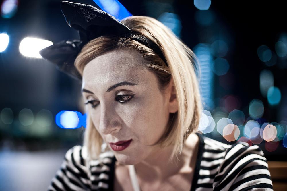 Lara Matossian-Roberts, a mime artiste.