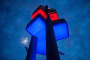 "The Prague/Zizkov TV tower with the ""Crawling Babies"" artwork by Czech contemporary artist David Cerny."