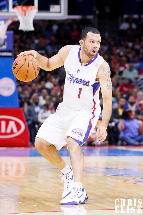07 October 2014: Los Angeles Clippers guard Jordan Farmar (1) dribbles during the Golden State Warriors 112-94 victory over the Los Angeles Clipper, in a preseason game, at the Staples Center, Los Angeles, California, USA.