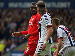 WEST BROMWICH, ENGLAND - Sunday, May 15, 2016: Liverpool's Christian Benteke clashes with West Bromwich Albion's Jonas Olsson during the final Premier League match of the season at the Hawthorns. (Pic by David Rawcliffe/Propaganda)