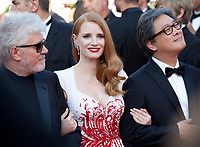 President of the jury Pedro Almodovar and Jury members Jessica Chastain and Park Chan-wook arriving to the Closing Ceremony and awards at the 70th Cannes Film Festival Sunday 28th May 2017, Cannes, France. Photo credit: Doreen Kennedy