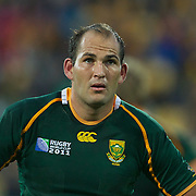 Fourie du Plessis, South Africa, in action during the South Africa V Australia Quarter Final match at the IRB Rugby World Cup tournament. Wellington Regional Stadium, Wellington, New Zealand, 9th October 2011. Photo Tim Clayton...