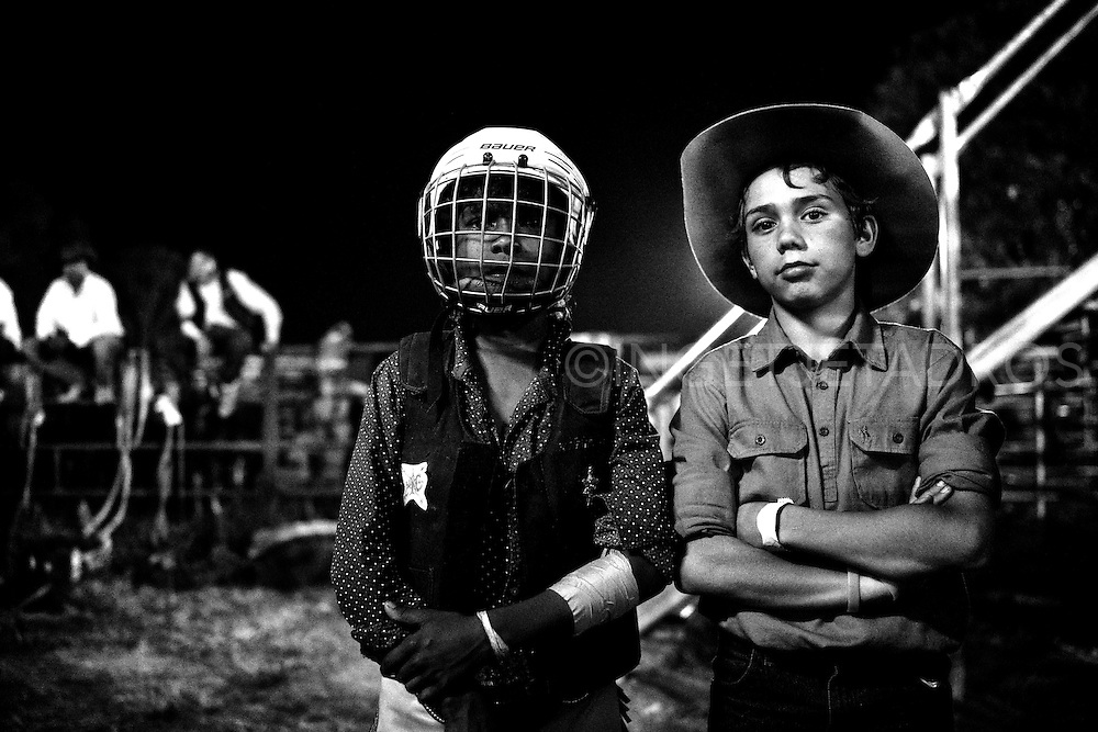 Young boys competing during an old Kimberley tradition, the Broome Rodeo. Twenty Cattle Stations took part in the spectacle. Western Australia. ©Ingetje Tadros/Diimex