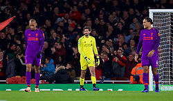 LONDON, ENGLAND - Saturday, November 3, 2018: Liverpool's goalkeeper Alisson Becker looks dejected as Arsenal score an equalising goal during the FA Premier League match between Arsenal FC and Liverpool FC at Emirates Stadium. (Pic by David Rawcliffe/Propaganda)
