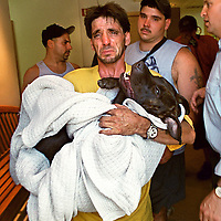 "fragm ""Dog Put Down""-Paul Gonyea walks out of The ""Beverly(Massachusetts)Animal Hospital"" after authorities made him put down his Pitbull ""Floyd"" after a number of attack complaints."