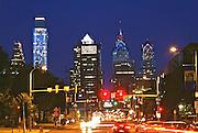 A Philadelphia Skyline  Comcast Center (l)  , BNY Mellon Center, Bell Atlantic Tower, Night, Market Street