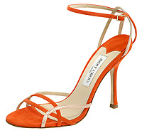 jimmy choo high heel in orange and pink leather