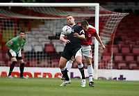 Photo: Rich Eaton.<br /> <br /> Bristol City v Swansea City. Coca Cola League 1. 07/04/2007. Lee Trundle left of Swansea shields the ball from Bristols Louis Carey