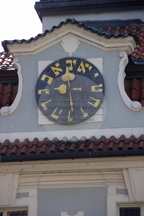 The Hebrew Clock at the Jewish Town Hall in Josefov, the former Jewish ghetto in Prague, Czech Republic. The hall was build in 1570.