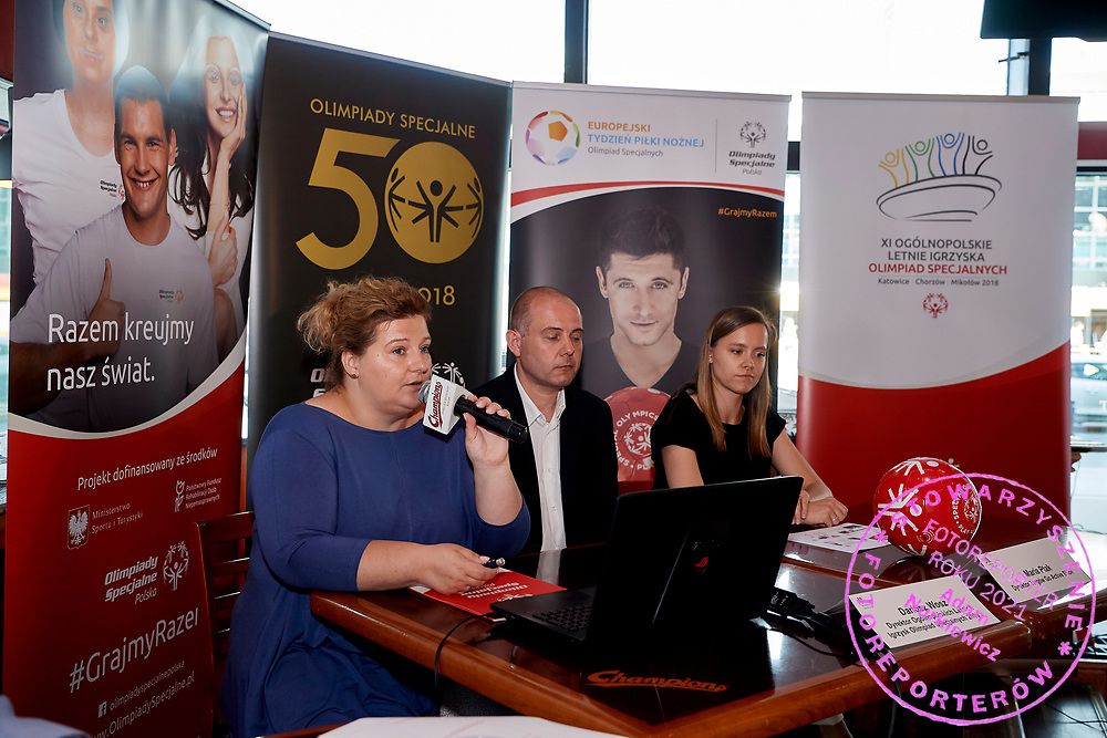Warsaw, Poland - 2018 May 10: (L-R) Joanna Styczen National Director of Special Olympics Poland and Dariusz Wosz and Maria Ptak &quot;Go &amp; Active Show&quot; Meneger attend Special Olympics Press Conference at Marriott Champions Sport Bar on May 10, 2018 in Warsaw, Poland.<br /> <br /> Adam Nurkiewicz declares that he has no rights to the image of people at the photographs of his authorship.<br /> <br /> Picture also available in RAW (NEF) or TIFF format on special request.<br /> <br /> Any editorial, commercial or promotional use requires written permission from the author of image.<br /> <br /> Image can be used in the press when the method of use and the signature does not hurt people on the picture.<br /> <br /> Mandatory credit:<br /> Photo by &copy; Adam Nurkiewicz / Mediasport